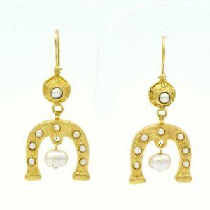 【送料無料】アクセサリー ネックレス ストーンイヤリングaylas placcato oro semi preziosi gem stone ferro di cavallo orecchini di perle