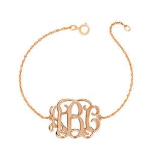 【送料無料】アクセサリー ネックレス カスタムモノグラムカフピンクpersonalizzati 3 iniziali monogramma bracciale in argento placcato oro rosa