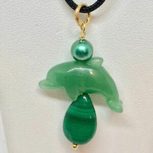 【送料無料】アクセサリー ネックレス イルカパールマラカイトkペンダントavventurina delfino con perla e malachite 22k vermiglio ciondolo 509262avgx