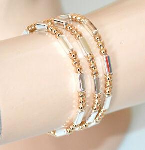 【送料無料】アクセサリー ネックレス セットブレスレットシルバーゴールドゴールデンメタルブレスレットset 3 bracciali donna argento oro dorato elastici metallo lucido bracelet gp16