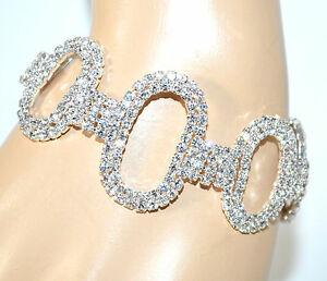 【送料無料】アクセサリー ネックレス カフシルバーbracciale strass donna argento cerchi ovali cristalli sposa cerimonia f200