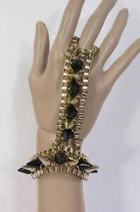 【送料無料】アクセサリー ネックレス ブラックゴールドチェーンステッチハンドメタルファッションヒントカフnuovo donna oro nero catenella mano moda metallo punte bracciale alla schiava a