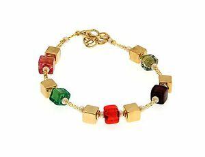 【送料無料】アクセサリー ネックレス カフカラーゴールドペンダントイタリアムラノガラスbracciale donna colore oro ciondolo cubi vetro murano made in italy ls259