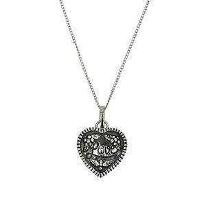 【送料無料】アクセサリー ネックレス シルバーペンダントelements argento 925 ossidato inciso love ciondolo a cuore su 18  catenina
