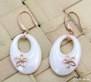 【送料無料】アクセサリー ネックレス シルバーピンクゴールドハワイアンプルメリアargento 925 rosa e oro hawaiano plumeria fiore bianco ceramica ovale