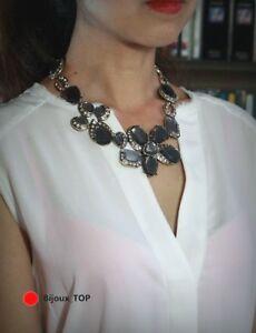 【送料無料】アクセサリー ネックレス コリアーファッションクリスタルアールデコビンテージcollier fashion mi long dor gris cristal grosse fleur art deco vintage osc2