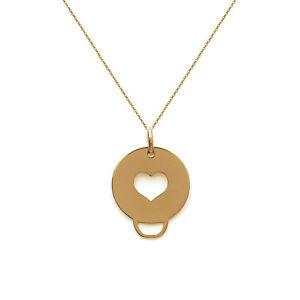 【送料無料】アクセサリー ネックレス コリアクールバスヌフcollier mdaille coeur en plaqu or 18ct neuf longueur au choix 45cm ou 50cm