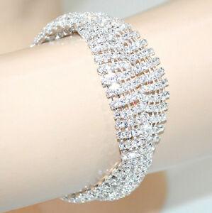【送料無料】アクセサリー ネックレス カフシルバーラインストーンクリスタルラメブレスレットbracciale donna argento cristalli strass elegante brillantini sposa bracelet g34