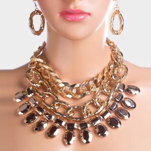【送料無料】アクセサリー ネックレス クリスタルゴールドネックレスブティックstatement glam a strati oro cristallo bib collare collana set da rocce boutique