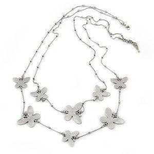 【送料無料】アクセサリー ネックレス シルバースロットルネックレスlong 2strand, a strati collana farfalla in tono argento 100cm l5cm ext
