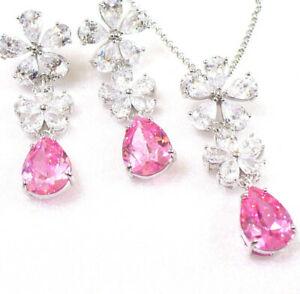 【送料無料】アクセサリー ネックレス イヤリングネックレスピンクキュービックホワイトクリアdangle earrings amp; collana set fiori rosa chiaro cz placcato in oro bianco cubici uk
