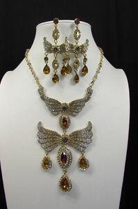 【送料無料】アクセサリー ネックレス メタルフライングファッションネックレスゴールドシルバーイヤリングdonna metallo flying angel wings costume moda collana oro argento orecchini
