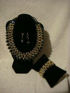 【送料無料】アクセサリー ネックレス ファッションネックネックレスブレスレットゴールドイヤリングセットfashion colletto collana, braccialetto amp; orecchini set in nero e oro metallo