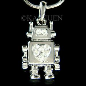 【送料無料】アクセサリー ネックレス ロボットスワロフスキークリスタルロボットネックレスrobot cuore cristallo swarovski movibile robotic stelo ragazzi collana