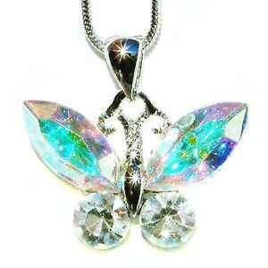 【送料無料】アクセサリー ネックレス スワロフスキークリスタルバタフライab realizzato con cristallo swarovski farfalla damigella sposa matrimonio