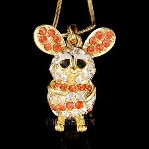 【送料無料】アクセサリー ネックレス マウスラットハムスタースワロフスキークリスタルゴールドネックレスmouse criceto ratto gerbillo chinchilla con swarovski cristallo oro tn collana