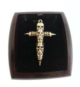 【送料無料】アクセサリー ネックレス ゴールドゴシックスカルクロスペンダントuomo e donna grande bronzo gotico teschio croce pendente a immerso in oro 9ct