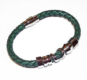 【送料無料】アクセサリー ネックレス ビーズダークグリーンブレスレットtribale acciaio 21 cm verde scuro bracciale con perline intrecciate in pelle