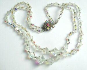 【送料無料】アクセサリー ネックレス コリアーダブルクリックドクリスタルビンテージancien collier double rangs de perles cristal fermoir argent bijou vintage 307