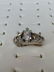 【送料無料】アクセサリー ネックレス スターリングシルバーオパールリングargento sterling opale anello cz