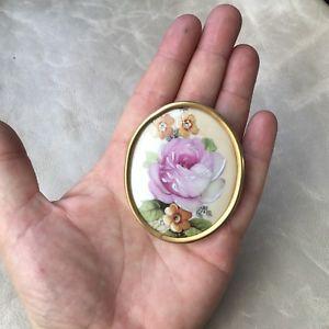 【送料無料】アクセサリー ネックレス ビンテージリモージュブローチgrande broche vintage en porcelaine de limoges porcelain brooch