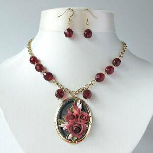 【送料無料】アクセサリー ネックレス レッドローズカメオネックレスred rose bouquet cameo collana floreale da cerimonia damigella 2