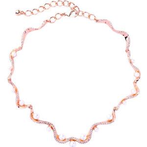 【送料無料】アクセサリー ネックレス ネックレスショートピンクゴールドアールデコヘビホワイトパールcollana corto dorato rosa art deco serpente pav perla bianco originale osc5