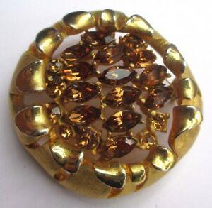 【送料無料】アクセサリー ネックレス ビンテージシャトルbroche couleur or ancien bijou vintage bouton fleur navette cristaux topaze 2565