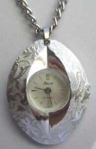 【送料無料】アクセサリー ネックレス ビンテージアルジェントサラbijou vintage collier montre pendentif couleur argent signe sarah cov 2419