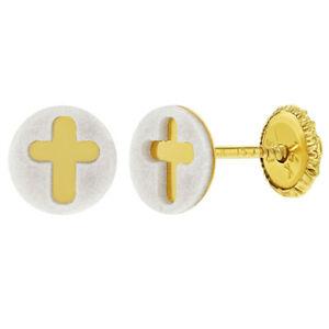 【送料無料】アクセサリー ネックレス イエローゴールドクロスイヤリングスナップ14k oro giallo croce religioso orecchini a bottoncino per bambina 6mm
