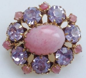 【送料無料】アクセサリー ネックレス ビンテージカボションローズbroche vintage couleur or cristaux taills couleur amthyste cabochon rose 653