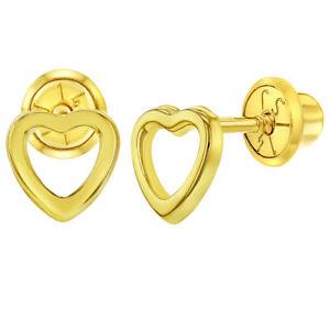 【送料無料】アクセサリー ネックレス イエローゴールドハートイヤリングスナップ14k oro giallo aperto piccolo cuore orecchini a bottoncino neonati bambini 5mm