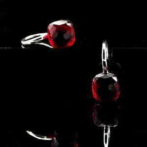 【送料無料】アクセサリー ネックレス イヤリングシルバークリスタルスクエアルビーレッドorecchini argentato piazza cristallo autriche rosso rubino placcato oro nd2