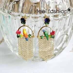 【送料無料】アクセサリー ネックレス ケージローズヴェールフリンジboucles doreilles clous email perroquet fleur cage oiseau rose vert frange l6