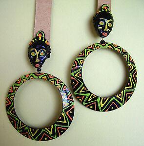 【送料無料】アクセサリー ネックレス クリップアフリカ1630 grandes boucles doreille clips africa metal peint