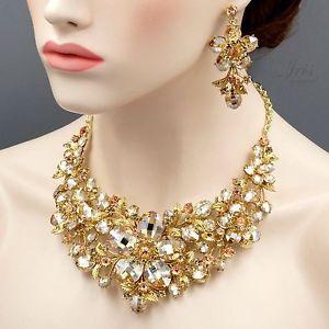 【送料無料】アクセサリー ネックレス メッキトパーズクリスタルネックレスイヤリングsplendido placcato oro topazio con fiori di cristallo collana orecchini