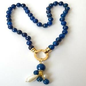 【送料無料】アクセサリー ネックレス ネックレスゴールドカラーcollana donna colore oro di agata blu e perle bianche 58 cm  488 bb