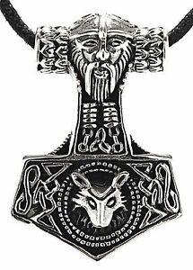 【送料無料】アクセサリー ネックレス トールシルバーオーディンオオカミヘッドストラップペンダントネックレスハンマー143 martello di thor argento 925 odin lupo testa cinturino ciondolo collana
