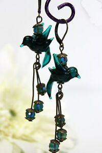 【送料無料】アクセサリー ネックレス ガラスペンダントブロンズビンテージロマンチックイヤリングglass jewels orecchini bronzo pendenti lampwork petrolio vintage romantico i039