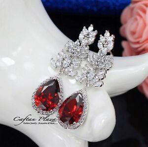 【送料無料】アクセサリー ネックレス イヤリングラグジュアリーイヤリングゴールドホワイトレッドorecchini luxury orecchini zirconi aaa cristalli stellux oro biancobianco rosso