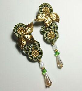 【送料無料】アクセサリー ネックレス イヤリングorecchini soutache verdi con cristalli