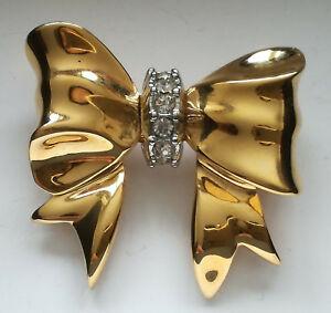 【送料無料】アクセサリー ネックレス ビンテージブローチオートクチュールbijou vintage broche dore brooch noeud nina ricci haute couture cristaux