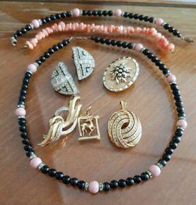【送料無料】アクセサリー ネックレス ビンテージプラークコリアーlot bijoux vintage plaque or et perles broche boucles doreilles collier refv515