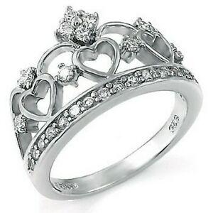 【送料無料】アクセサリー ネックレス スターリングシルバーキュービックジルコンハートクラウンリングdonna argento sterling 925 zircone cubico cuore corona 13mm anello