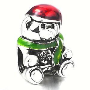 【送料無料】アクセサリー ネックレス クリスマステディベアブレスレットビーズエナメルシルバープレートnuovo natale teddy bear bead charm per bracciale chamilia amp; altro smalto silver plate