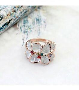 【送料無料】アクセサリー ネックレス ゴールドパールクリスタルリングクリスマスlusso donna anello in oro 18krgp cristallo madreperla foglie regalo di natale