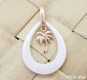 【送料無料】アクセサリー ネックレス シルバーピンクゴールドハワイアンパームツリーセラミックホワイトペンダントargento 925 rosa oro hawaiano albero di palma bianco ceramica lacrima ciondolo
