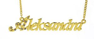 【送料無料】アクセサリー ネックレス ゴールドメッキネックレスクリスマス18k oro placcato collana con nome aleksandracompleanno sposa regali di natale