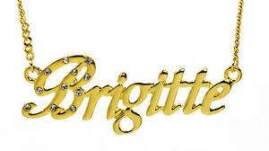 【送料無料】アクセサリー ネックレス ゴールドクリスマスメッキネックレス18k oro placcato collana con nome brigitteregali per le sue idee natale 18ct