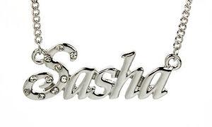 【送料無料】アクセサリー ネックレス ゴールドクリスマスホワイトネックレス18k placcato in oro bianco collana con nome sashaaccessori di natale personalizzata